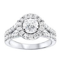 14K White Gold Tru-Reflections Round Halo Prong Ring 1 (5/8 Ct. Tw.)