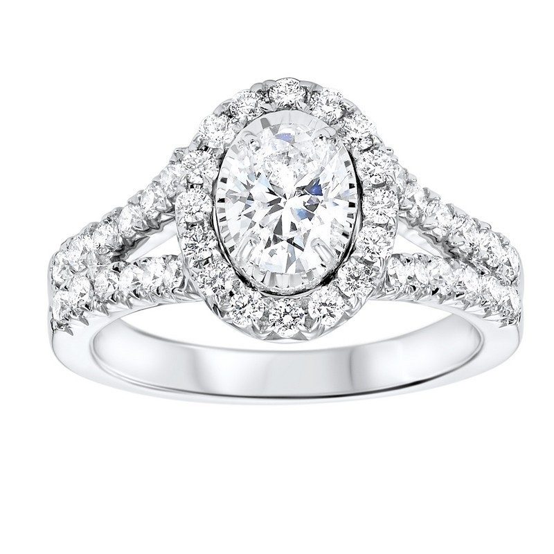 14K White Gold Tru-Reflections Oval Halo Prong Ring (1 1/2 Ct. Tw.)