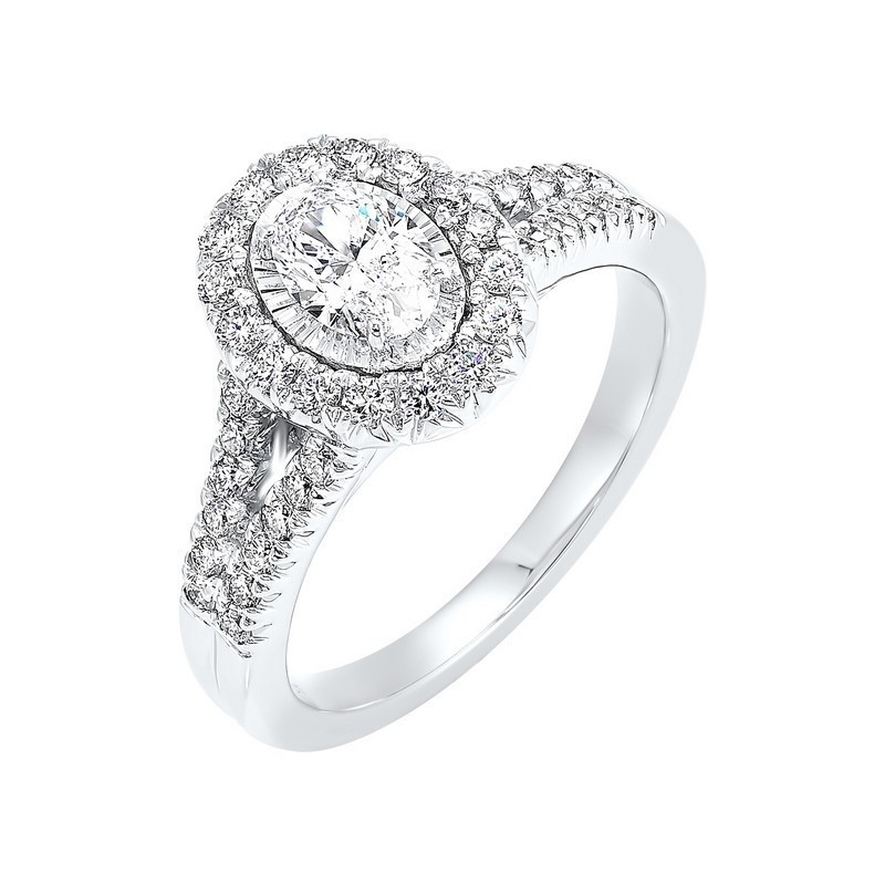14K White Gold Tru-Reflections Oval Halo Prong Ring (3/4 Ct. Tw.)