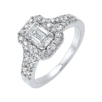 14K White Gold Tru-Reflections Emerald Halo Prong Ring (3/4 Ct. Tw.)