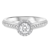 14K White Gold Tru-Reflections Round Halo Prong Ring (3/5 Ct. Tw.)