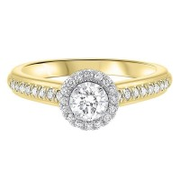 14K Two-Tone Gold Tru-Reflections Round Halo Prong Ring (3/5 Ct. Tw.)