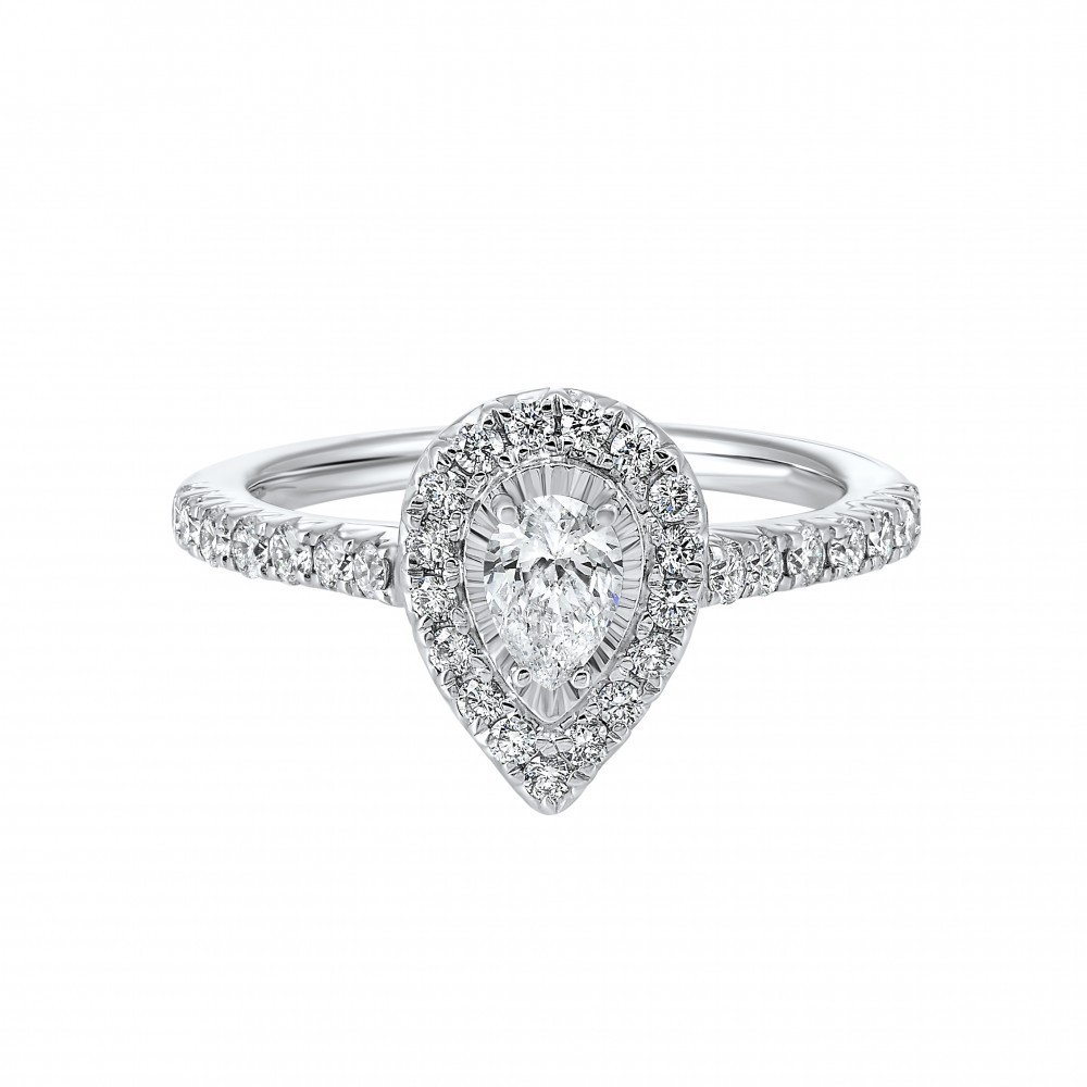 14K White Gold Tru-Reflections Pear Halo Prong Ring (4/5 Ct. Tw.)