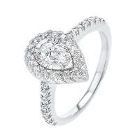 Pear Shape Starburst Halo Diamond Engagement Ring In 14k White Gold (1ctw)