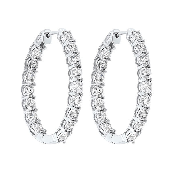 Tru Reflections Prong Set Oval In-Out Diamond Hoops In 14K White Gold (3/4 Ct. Tw.)