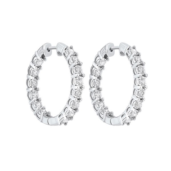 Tru Reflections Prong Set Round In-Out Diamond Hoops In 14K White Gold (1/2 Ct. Tw.)