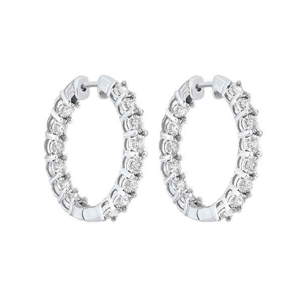 Tru Reflections Prong Set Round In-Out Diamond Hoops In 14K White Gold (3/4 Ct. Tw.)