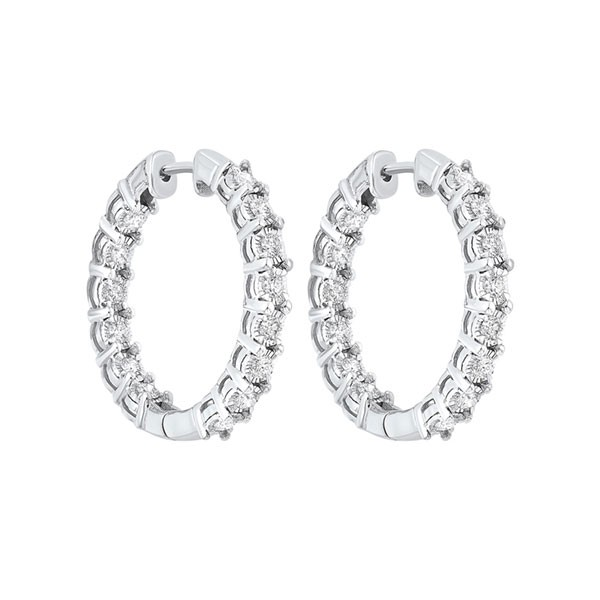 Tru Reflections Prong Set Round In-Out Diamond Hoops In 14K White Gold (1 Ct. Tw.)