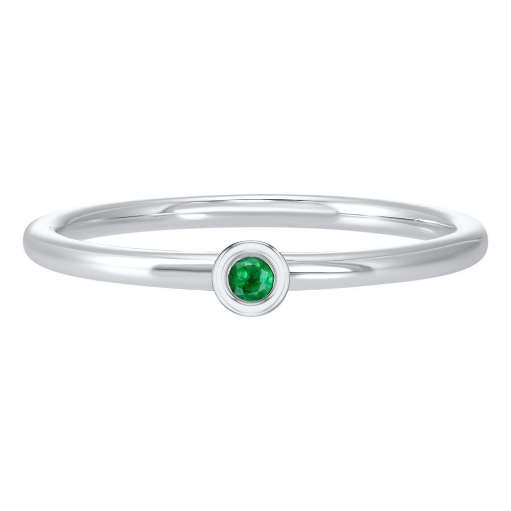 Emerald Birthstone Ring In 10K White Gold