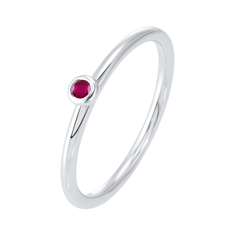 Ruby Birthstone Ring In 10K White Gold