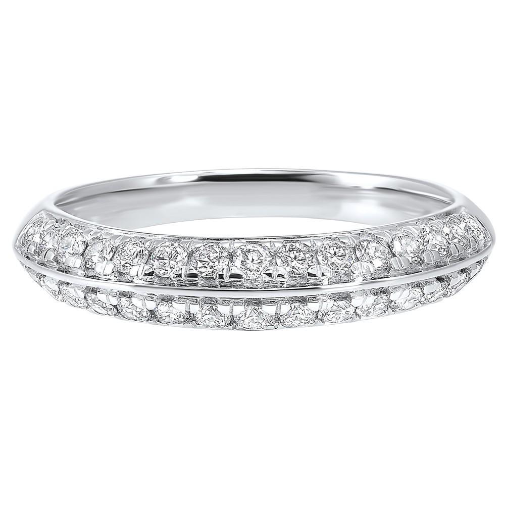 Multi-Row Diamond Ring In 14K White Gold (1/10 Ct. Tw.)