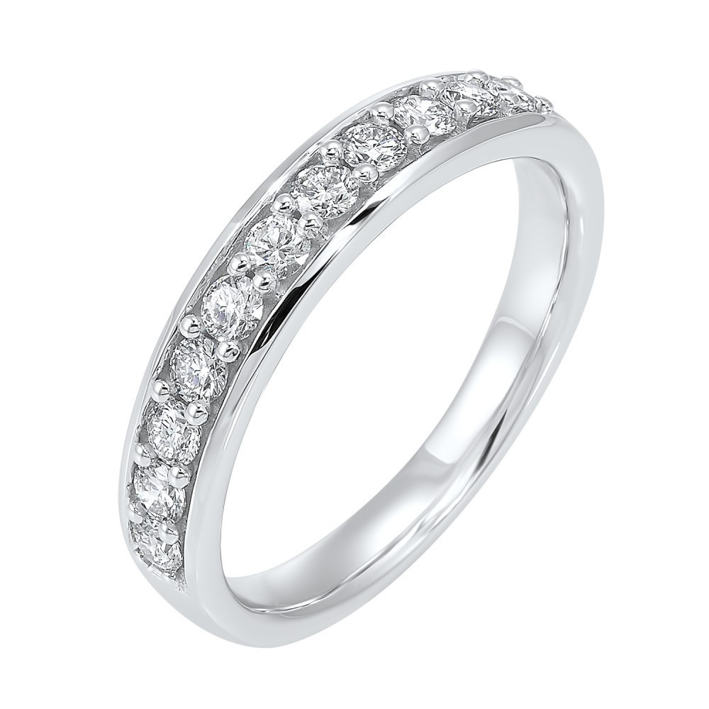 Micro Prong Diamond Band In 14K White Gold (1/10 Ct. Tw.)