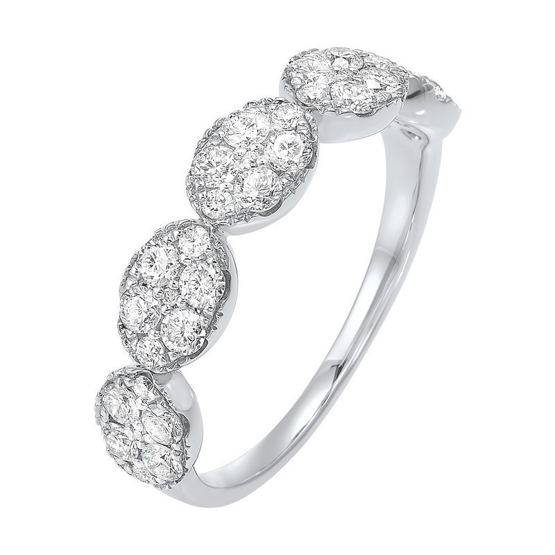 Five Station Oval Diamond Ring In 14K White Gold (3/4 Ct. Tw)