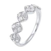 Five Station Square Diamond Ring In 14K White Gold (3/4 Ct. Tw)
