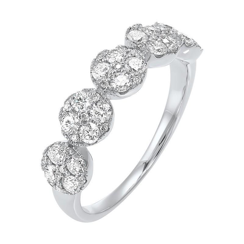 Five Station Circle Diamond Ring In 14K White Gold (3/4 Ct. Tw)