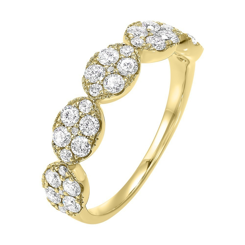 Five Station Oval Diamond Ring In 14K Yellow Gold (3/4 Ct. Tw)