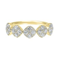 Five Station Square Diamond Ring In 14K Yellow Gold (3/4 Ct. Tw)