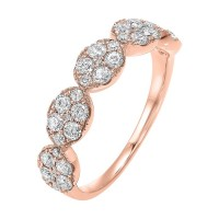 Five Station Oval Diamond Ring In 14K Rose Gold (3/4 Ct. Tw)