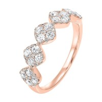 Five Station Square Diamond Ring In 14K Rose Gold (3/4 Ct. Tw)