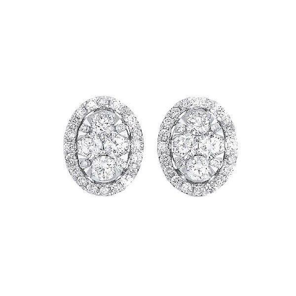 Diamond Round Halo Cluster Stud Earrings In 14k White Gold (1/2 Ctw)