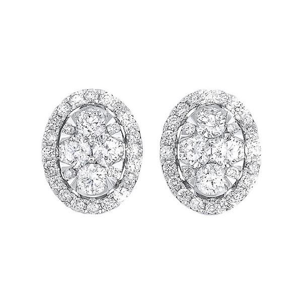 Diamond Oval Halo Cluster Stud Earrings In 14k White Gold (1 Ctw)