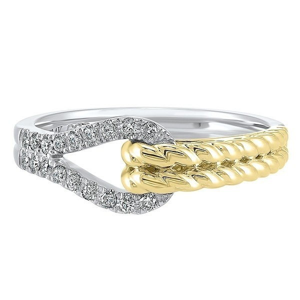 Diamond Teardrop Twisted Interlocking Ring In 14k Two-Tone Gold (1/6 Ctw)