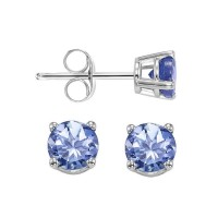 Four Prong Tanzanite Studs In 14K White Gold (4.5 MM)