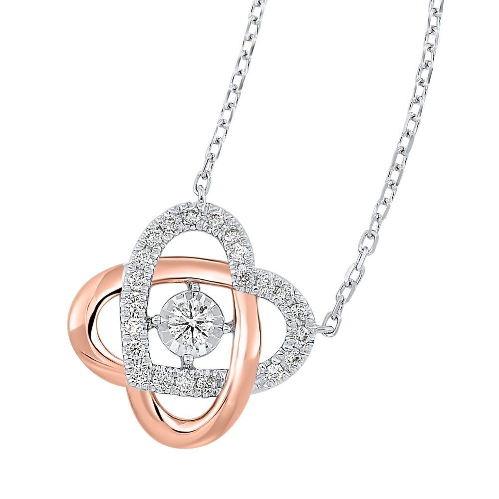 Love's Crossing Diamond Necklace In 14K Two-Tone Gold (1/3 Ct. Tw.)