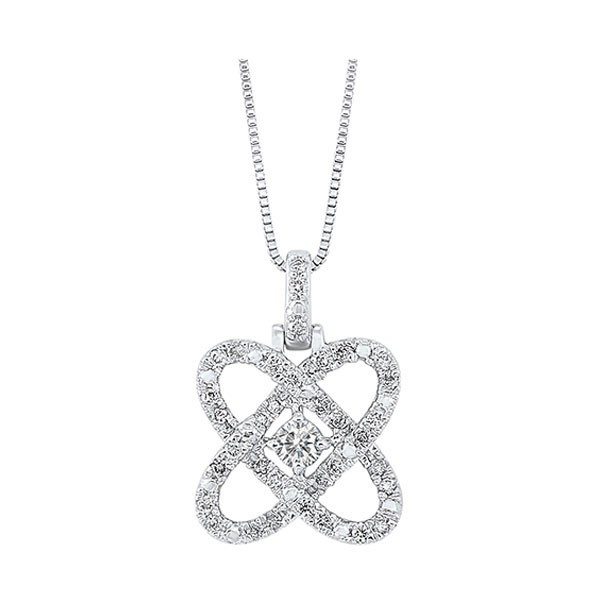 Diamond Infinity Love Heart Knot Pendant Necklace In Sterling Silver (1/4ctw)