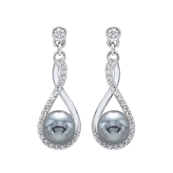 Shell Pearl Drop Earrings In Sterling Silver