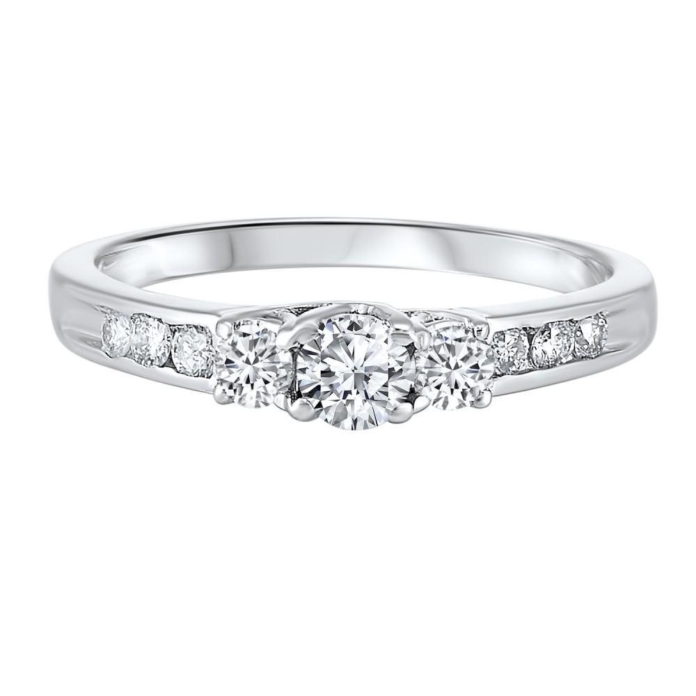 Three Stone Plus Diamond Ring In 14K White Gold (1/2 Ct. Tw)