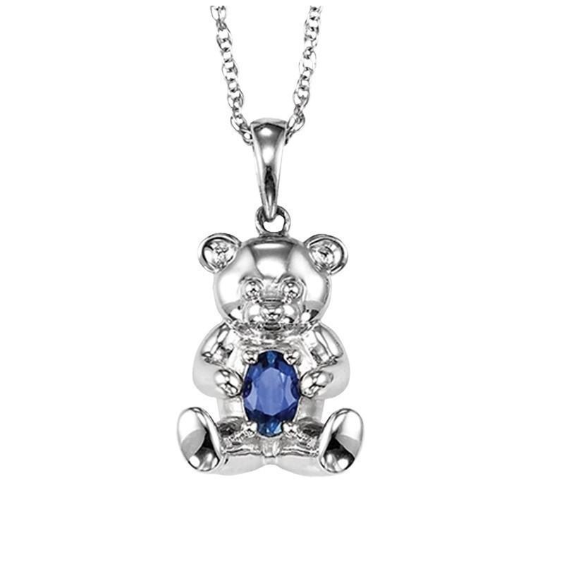 Teddy Bear Aquamarine Birthstone Pendant In Sterling Silver