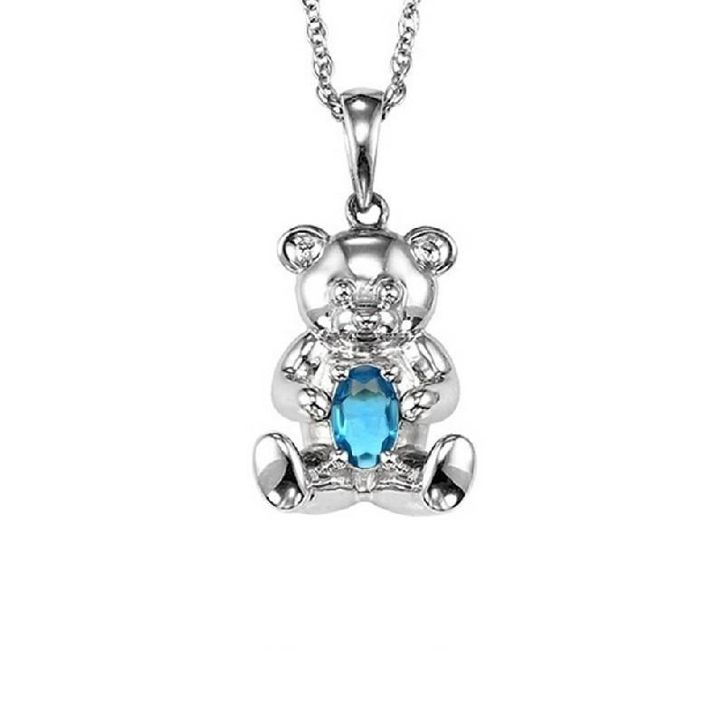 Teddy Bear Blue Topaz Birthstone Pendant In Sterling Silver