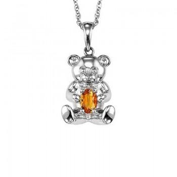 Teddy Bear Citrine Birthstone Pendant In Sterling Silver