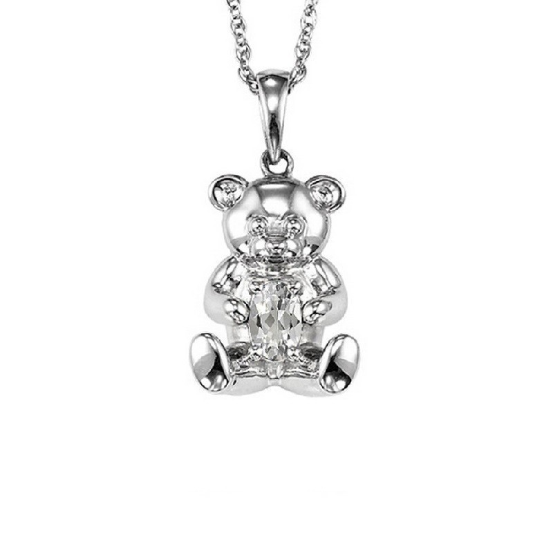 Teddy Bear Peridot Birthstone Pendant In Sterling Silver