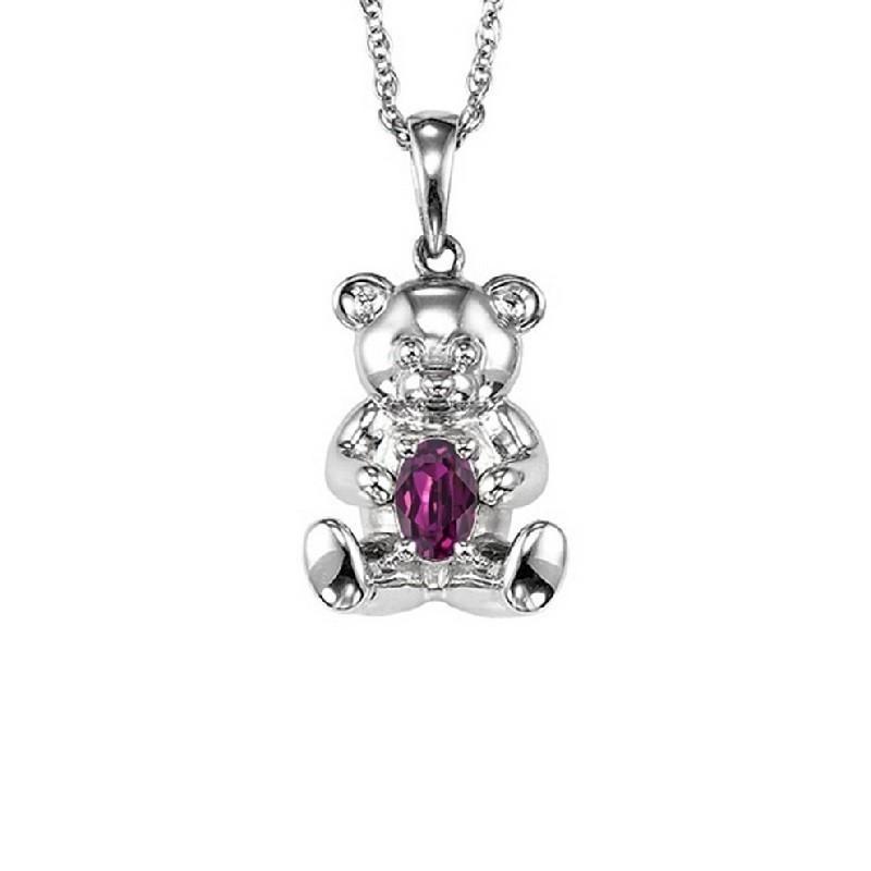 Teddy Bear Amethyst Birthstone Pendant In Sterling Silver