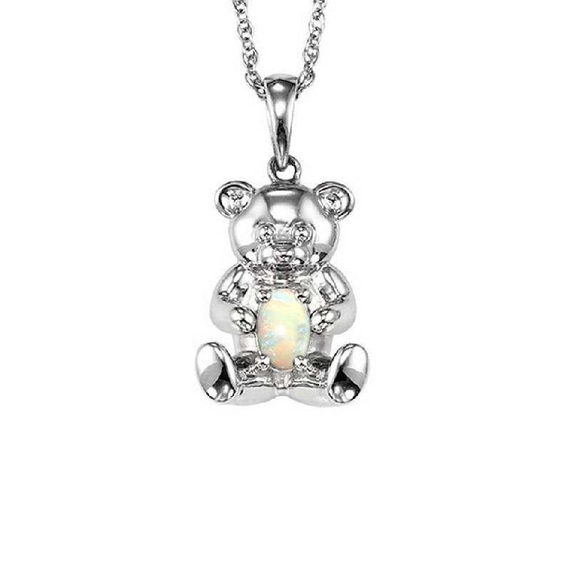 Teddy Bear Opal Birthstone Pendant In Sterling Silver
