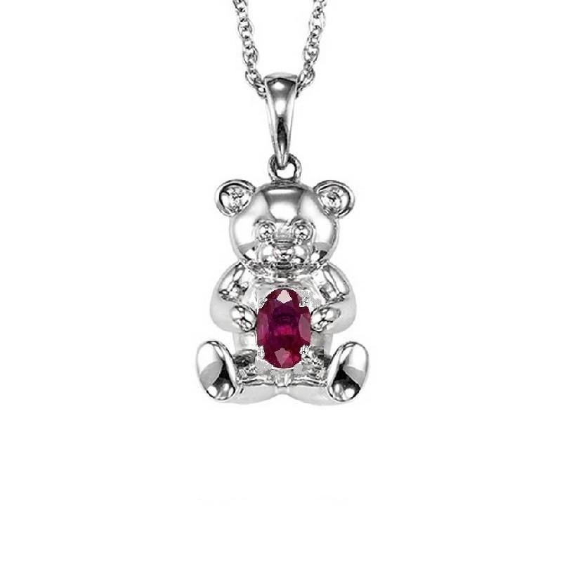 Teddy Bear Ruby Birthstone Pendant In Sterling Silver