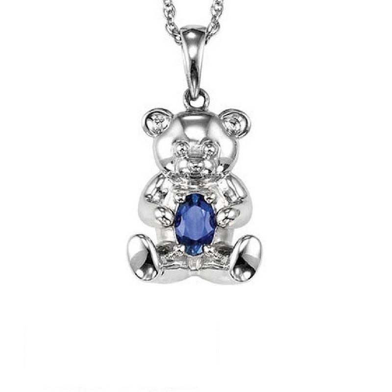 Teddy Bear Sapphire Birthstone Pendant In Sterling Silver