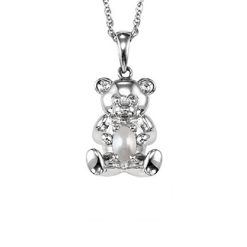 Teddy Bear Pearl Birthstone Pendant In Sterling Silver