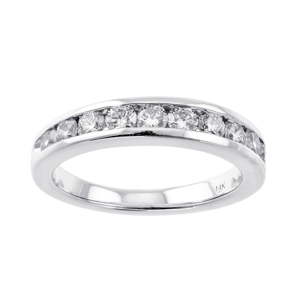 Channel Set Diamond Wedding Band In 14K White Gold (1 Ct. Tw.)