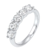 Five Stone Shared Prong Diamond Band In 14K White Gold (1/4 Ct. Tw.)