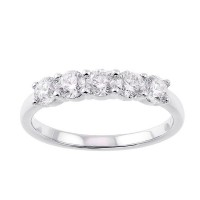 Five Stone Shared Prong Diamond Band In 14K White Gold (1 Ct. Tw.)
