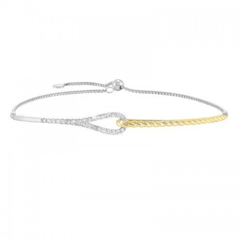 Petite Diamond Bracelet In 14K Two-Tone Gold  (1/4 Ct. Tw.)