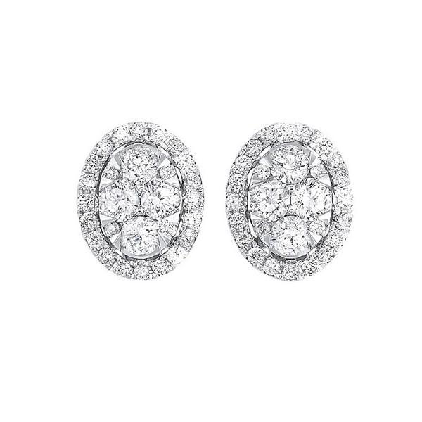 Diamond Oval Halo Cluster Stud Earrings In 14k White Gold (3/4 Ctw)