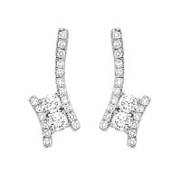 Twogether Diamond Drop Earrings In 14K White Gold (1 Ct. Tw.)