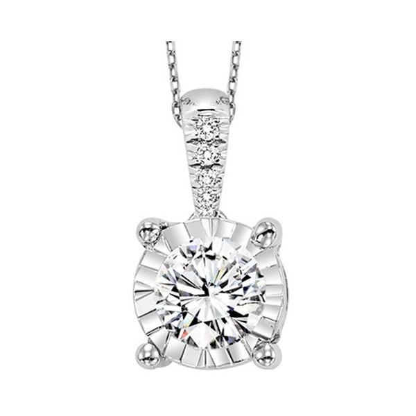Diamond Starburst Solitaire Pendant Necklace In 14k White Gold (1/10ctw)