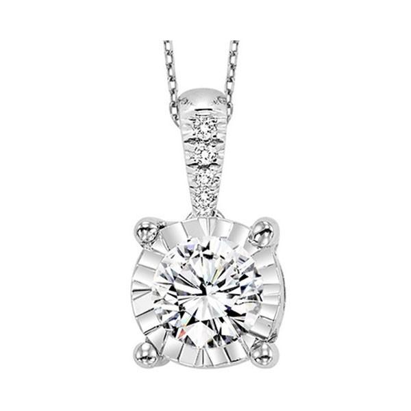 Diamond Starburst Solitaire Pendant Necklace In 14k White Gold (1/4ctw)