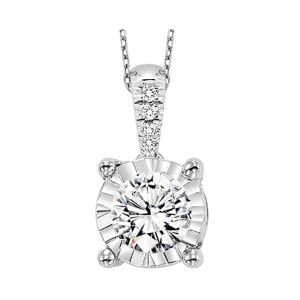 Diamond Starburst Solitaire Pendant Necklace In 14k White Gold (3/4ctw)