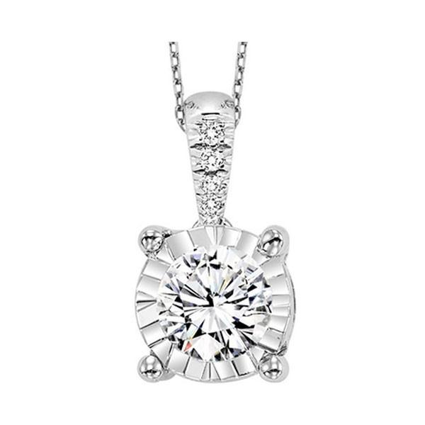 Diamond Starburst Solitaire Pendant Necklace In 14k White Gold (1ctw)